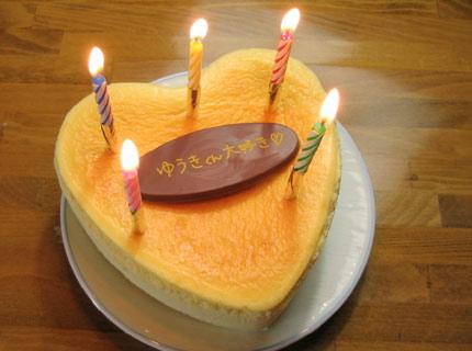 盛岡チロルハートの形のクリームチーズケーキ(プレート、ローソク付)